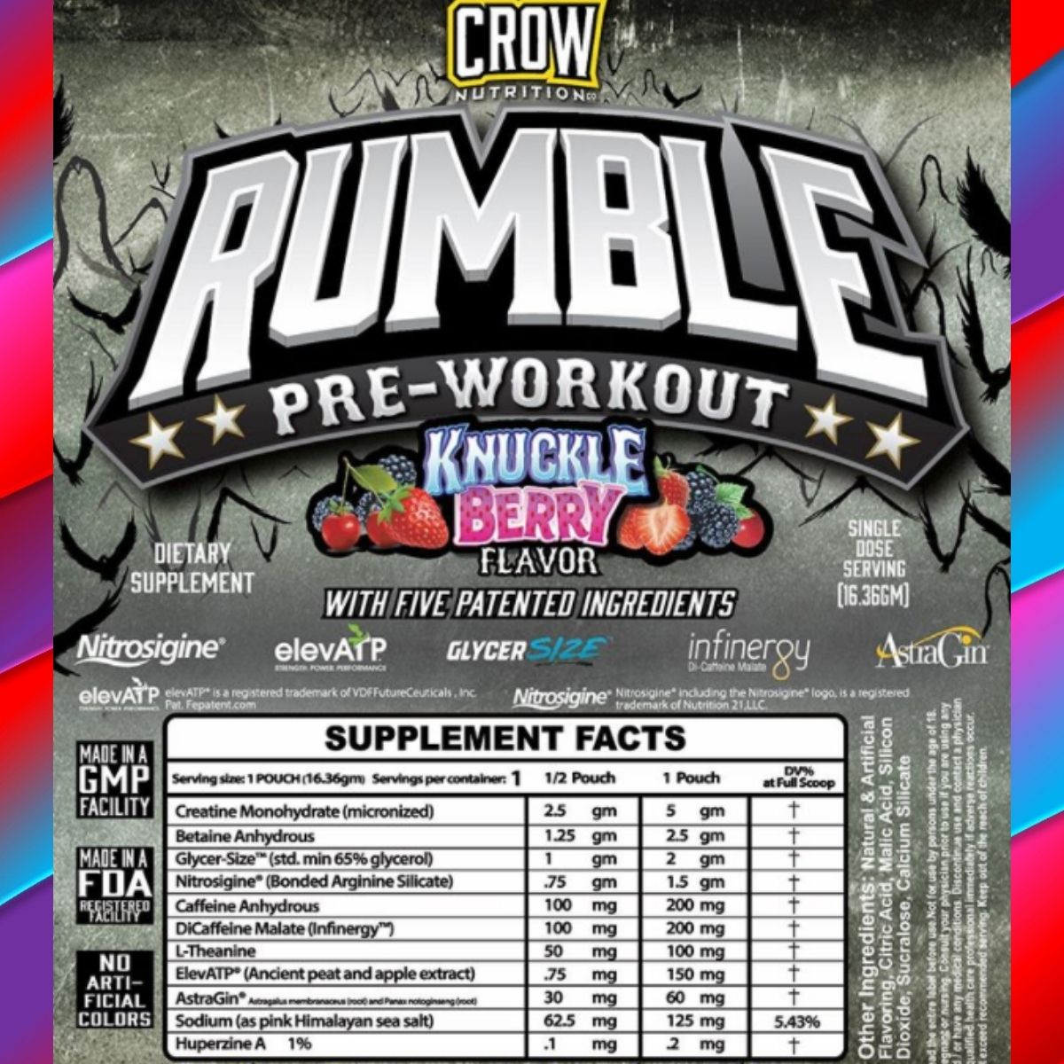 Crow Nutrition Rumble Pre-Workout Knuckle Berry Flavor