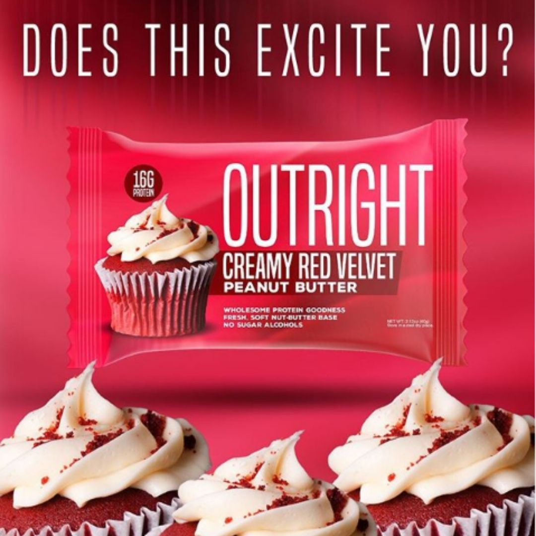 Outright Bar Adds Creamy Red Velvet Peanut Butter Option