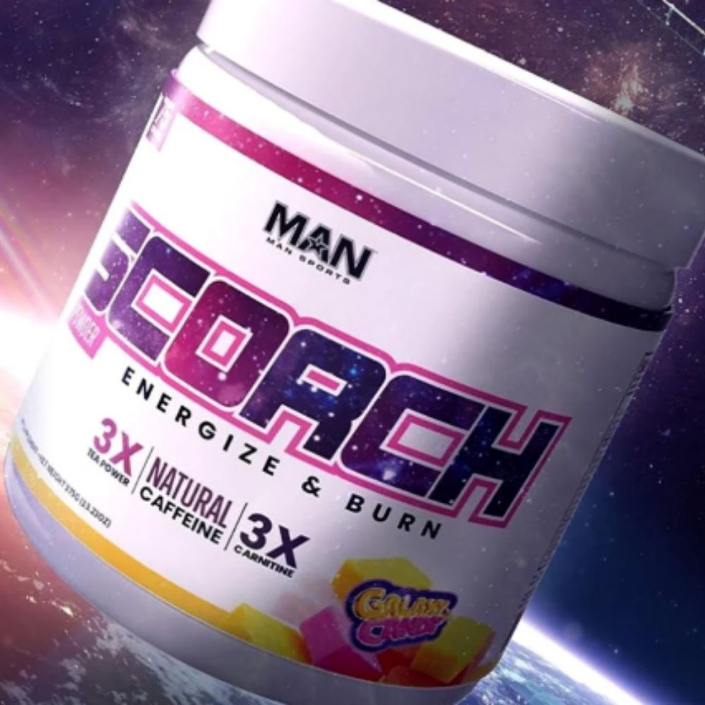 "Man Sports Scorch Fat Burning Powder Adds New ""Galaxy Candy"" Flavor in Colorful Tub"