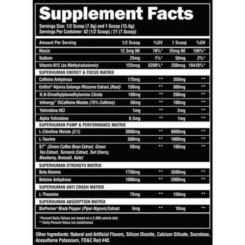 Supreme Supplement Facts