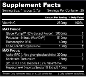 Performax VasoMax Supplement Facts