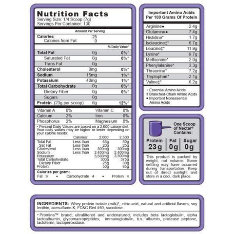 Syntrax Nectar Naturals Supplement Facts