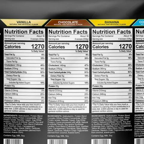 USN Anabolic Mass Gainer Supplement Facts