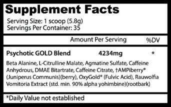Insane Labs Psychotic Gold Ingredients List