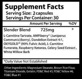 Insane Labz Insane Slender Supplement Facts