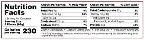 Optimum Nutrition Cake Bites Supplement Facts