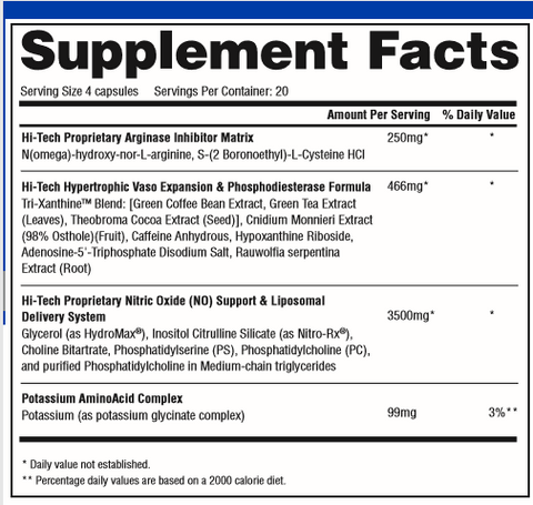 Plasmagen Supplement Facts