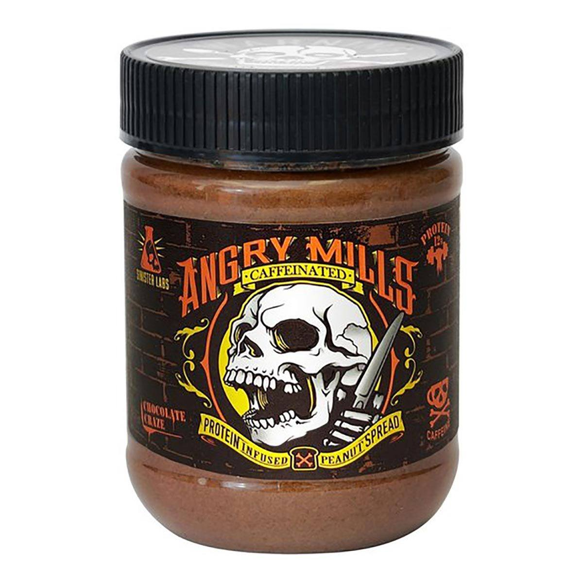 Sinister Labs Angry Mills Caffeinated Protein Infused Peanut Butter Spread Chocolate Craze Foods & Snacks Sinister Labs  (1059325444139)