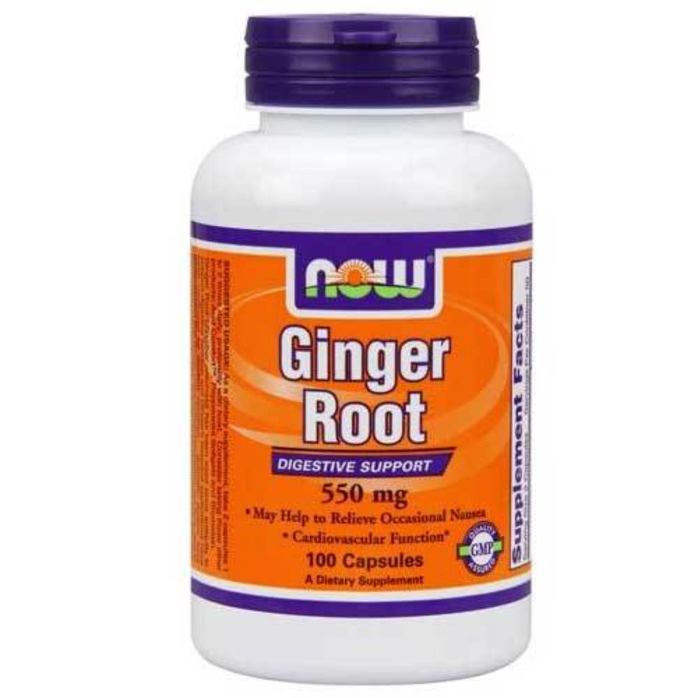 Now Foods Ginger Root 550 Mg 100 Capsules Digestive Health / Probiotics Now Foods  (1059140567083)