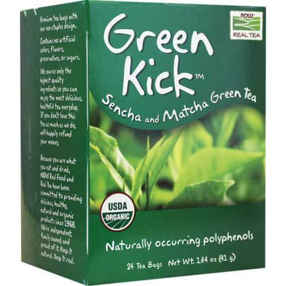 Now Foods Green Kick Sencha and Matcha Green Tea 24 Bags Teas Now Foods  (1059181297707)
