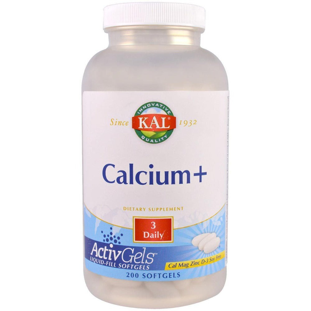 Kal Calcium+ w/ Magnesium, Zinc, and Vitamin D 200 Softgels Minerals Kal  (1057878605867)