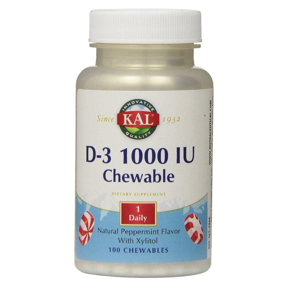 Kal D-3 1000 IU Peppermint Flavored 100 Chews Vitamins Kal  (1058068070443)