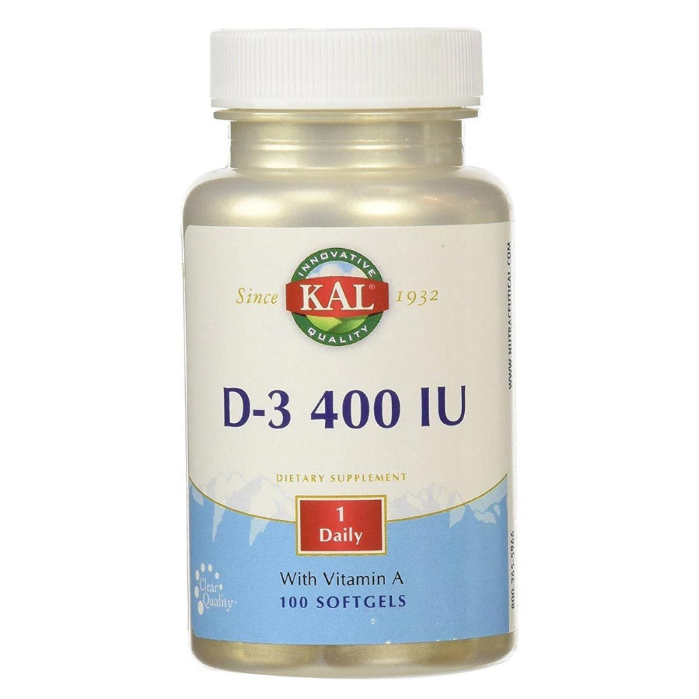 Kal D-3 400 IU 100 Softgels Vitamins Kal  (1057960296491)