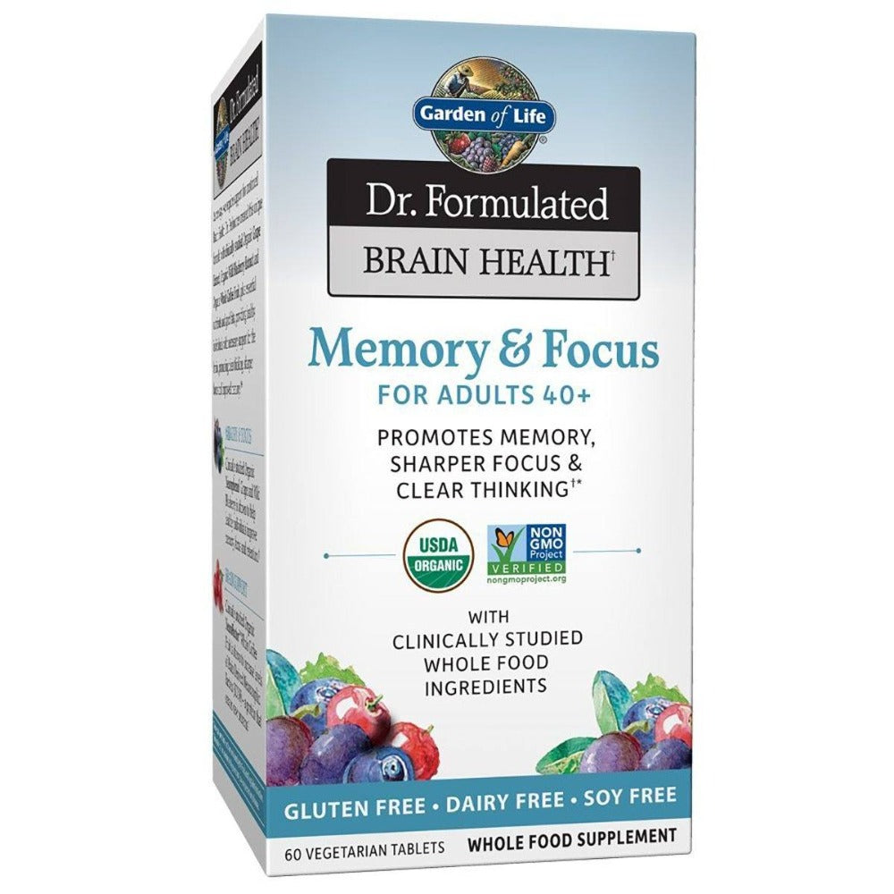 Garden Of Life - Dr. Formulated Brain Health Memory & Focus For Adults 40+ 60 Vegetarian Tablets Specialty Health Products Garden of Life  (1399372578859)