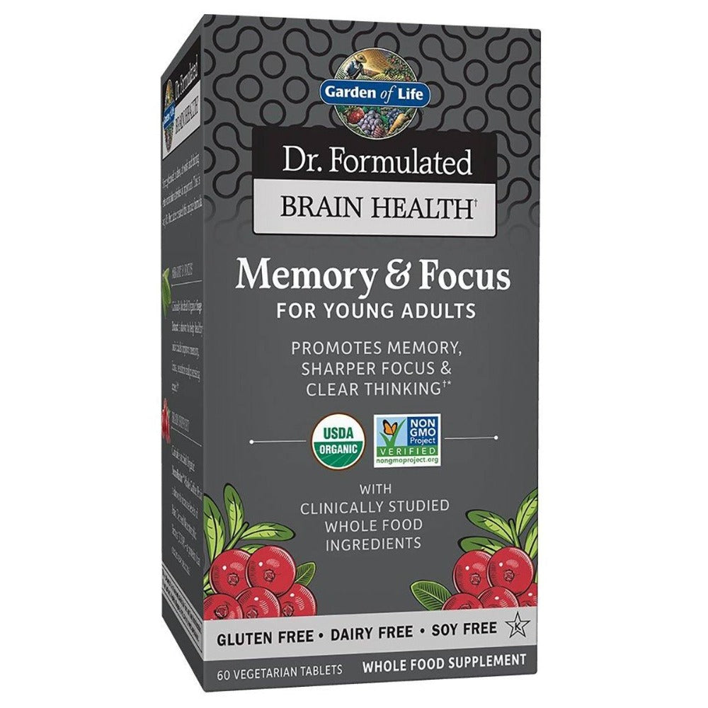 Garden Of Life - Dr. Formulated Brain Health Memory & Focus For Young Adults 60 Vegetarian Tablets Cognitive Garden of Life  (1410403794987)