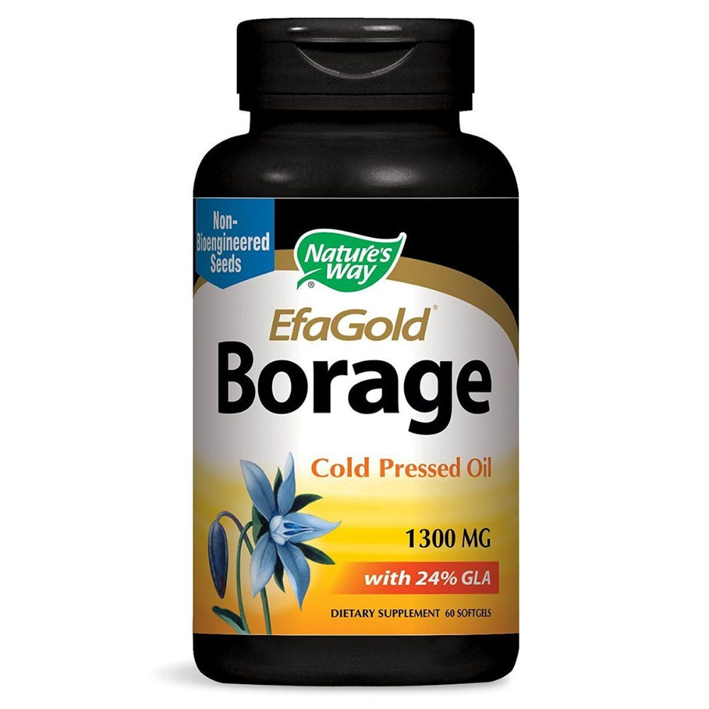 Nature's Way Efa Gold Borage Oil 1300mg with 312mg GLA 60 Gels Omega Fatty Acids / EFAs Nature's Way  (1058759311403)