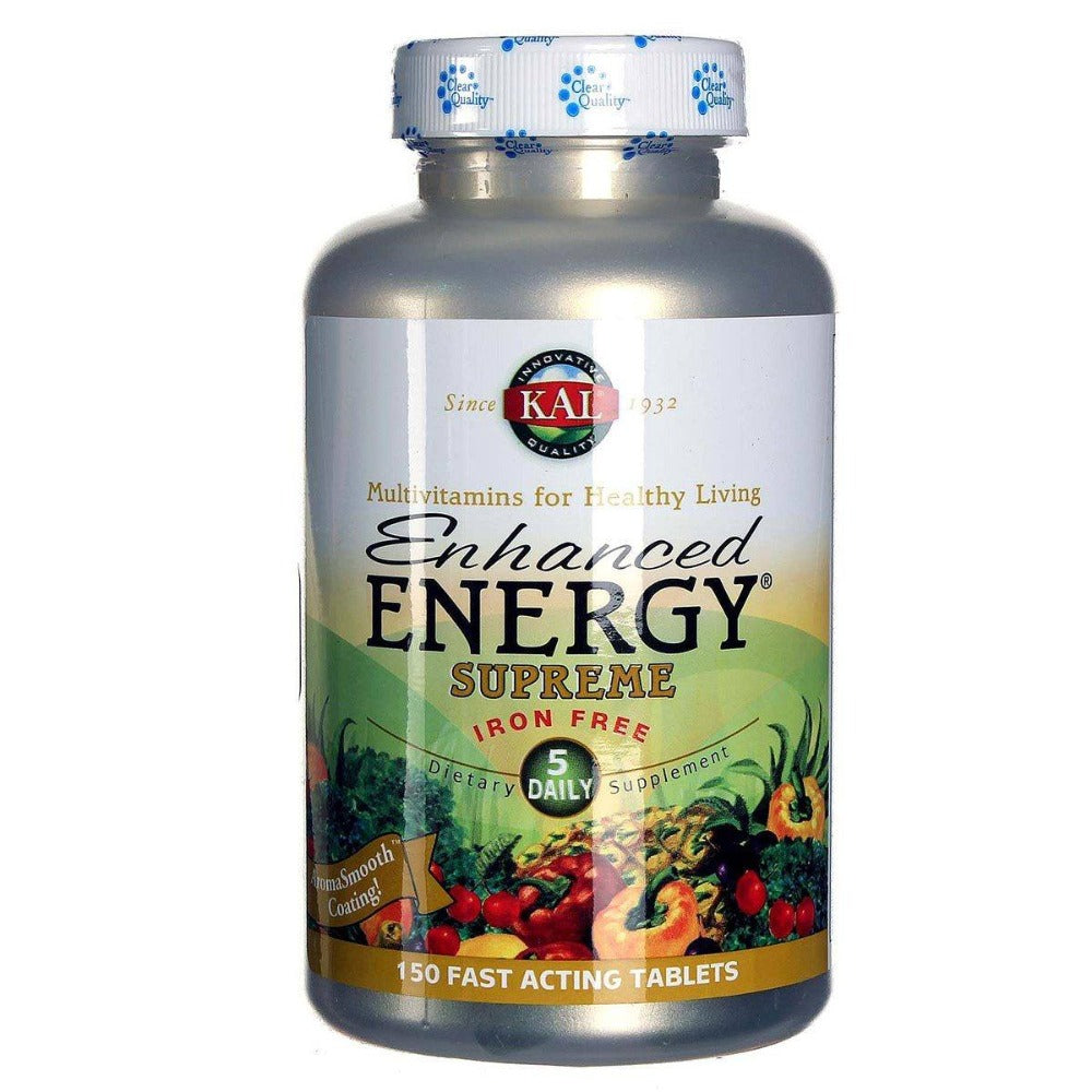 Kal Enhanced Energy Supreme Iron Free 150 Tabs Vitamins Kal  (1057981661227)
