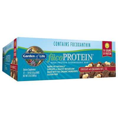 Garden of Life fucoPROTEIN Bar Box of 12 Protein Garden of Life Chocolate Macadamia Nut Crunch  (1058115649579)