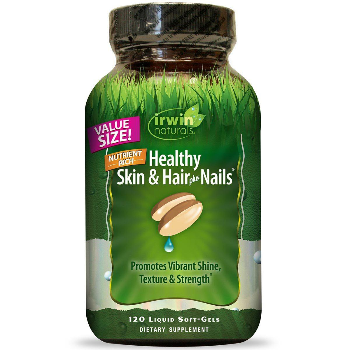 Irwin Naturals Healthy Skin and Hair plus Nails 120 Liquid Soft Gels Other Supplements Irwin Naturals  (1058820620331)
