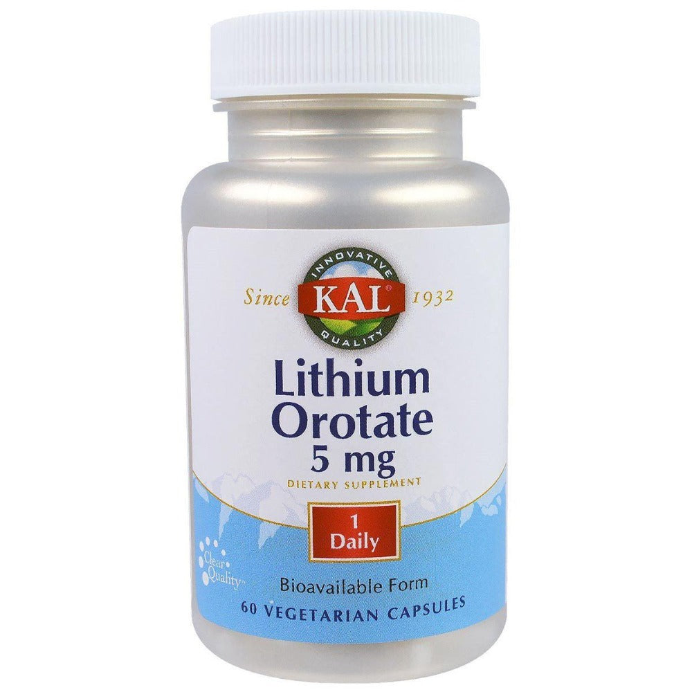 Kal Lithium Orotate 5mg 60 Vege Caps Minerals Kal  (1058806071339)