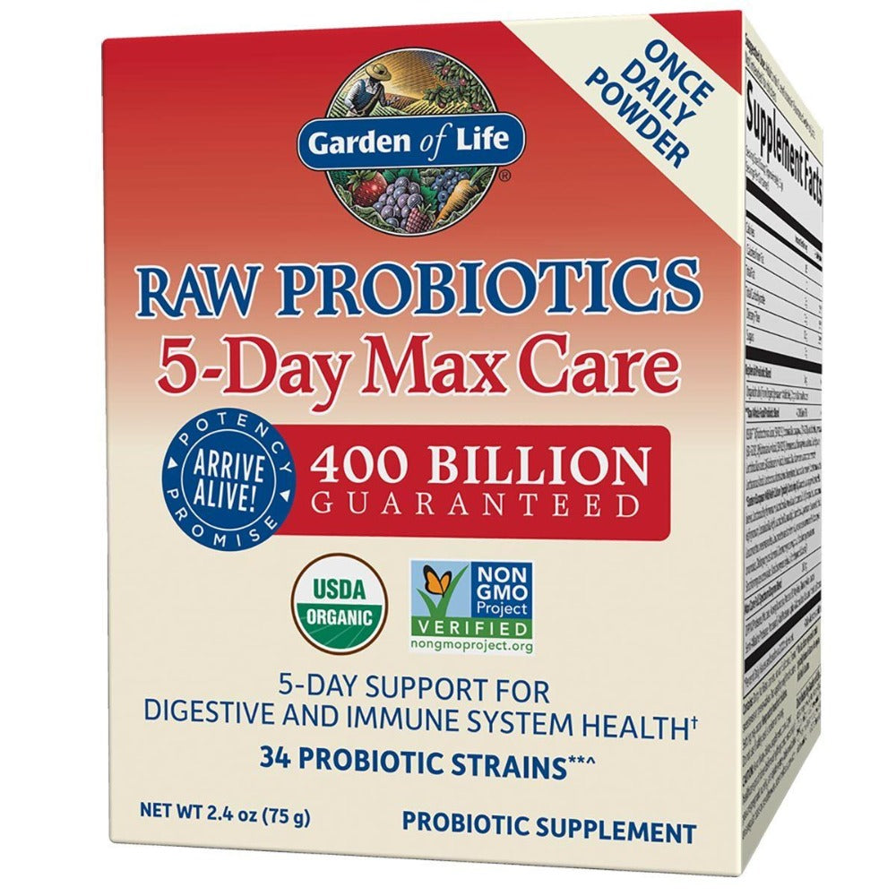 Garden of Life Raw Probiotics 5-Day Max Care 2.4 Oz Digestive Health / Probiotics Garden of Life  (1058807283755)