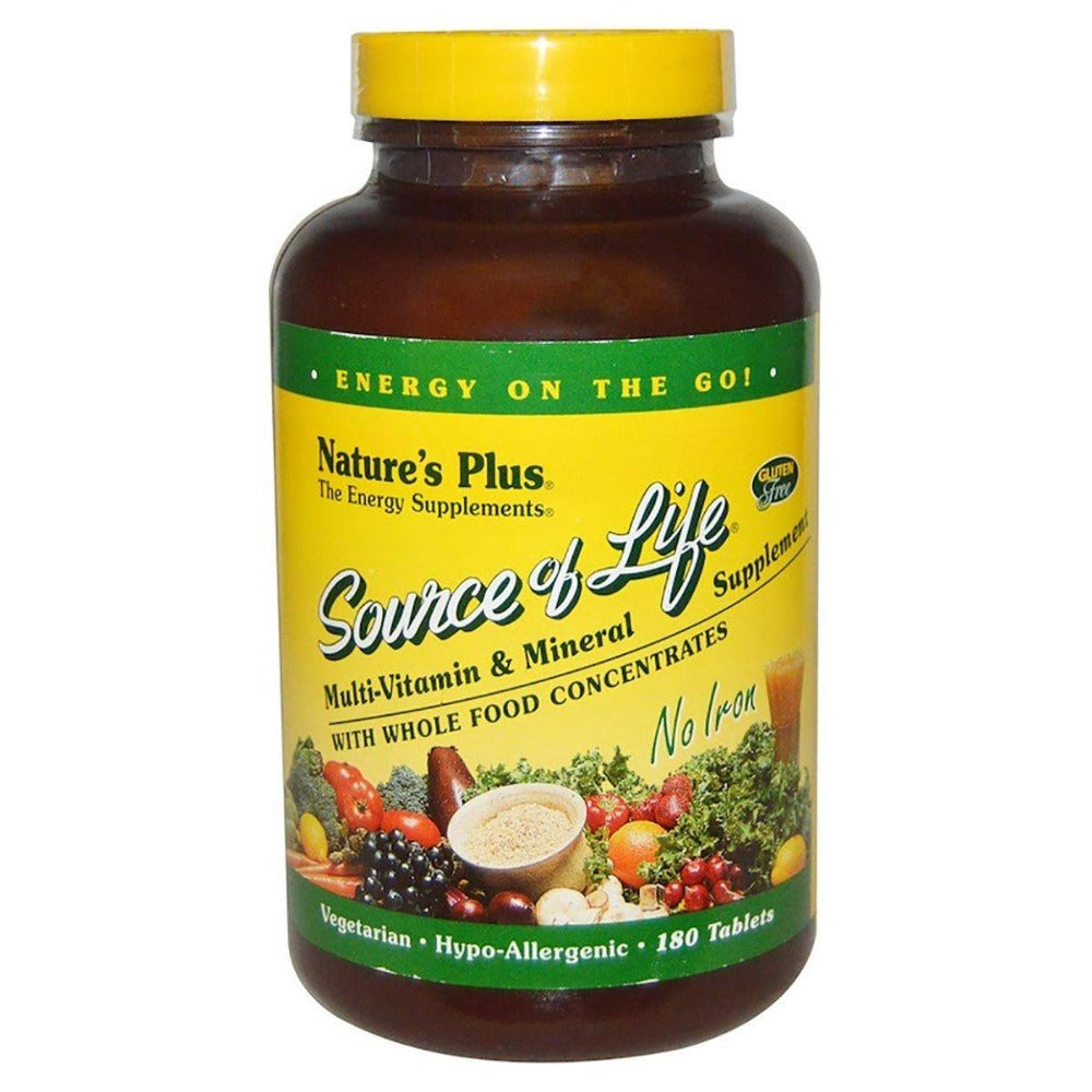 Nature's Plus Source of Life Multi Vitamin and Mineral No Iron 180 Tabs Vitamins Nature's Plus  (1057930182699)