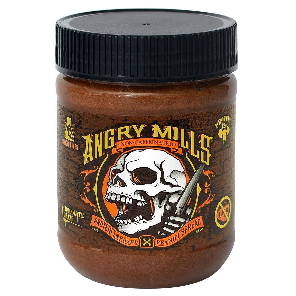 Angry Mills Caffeine Free Protein Infused Peanut Butter Spread Chocolate Craze Foods & Snacks Sinister Labs  (1059327541291)
