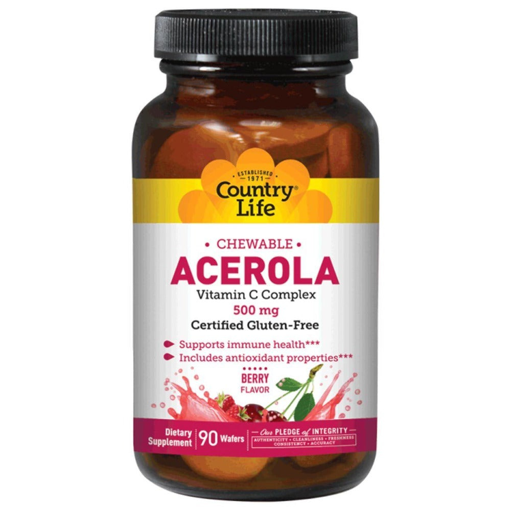 Country Life Acerola C 500 mg w/Bioflavanoids and Rutin 90 tabs Vitamins Country Life  (1057874739243)
