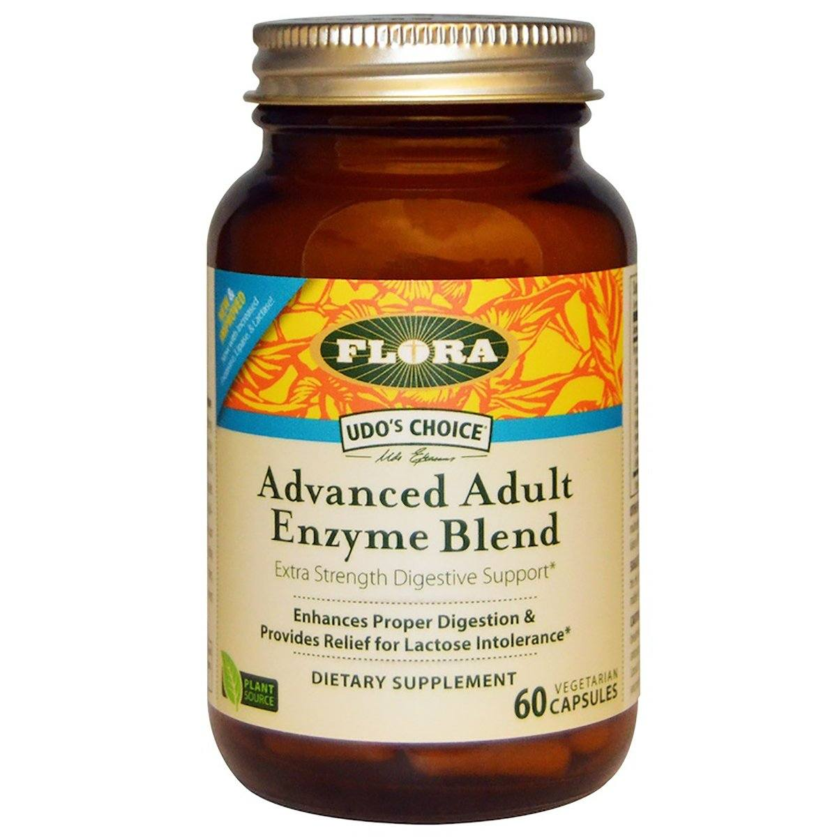 Flora (Udo's Choice) Udo's Choice Advanced Adult Enzyme Blend 60 Capsules Digestive Health / Probiotics Flora (Udo's Choice)  (1058630369323)