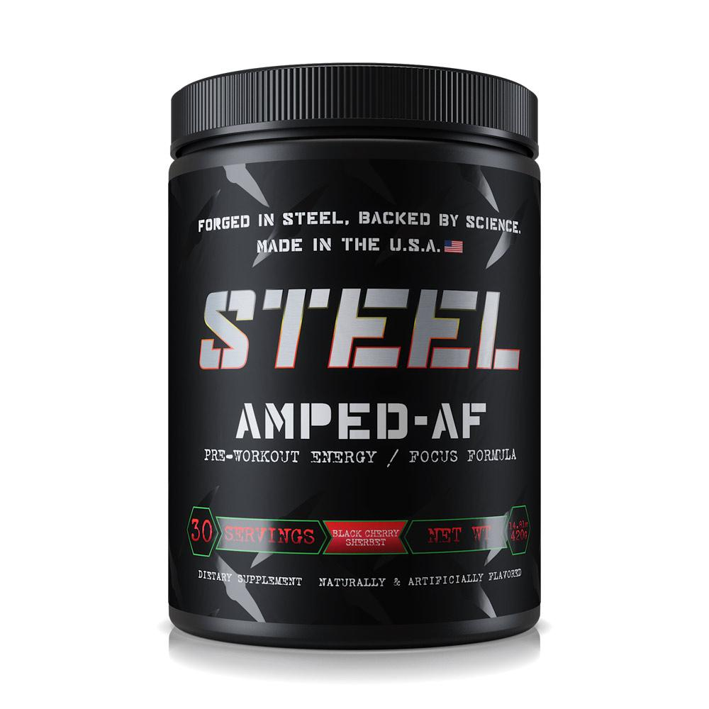 Steel Amped AF 30 Servings Sports Performance Recovery STEEL Black Cherry Sherbet  (1838612316203)