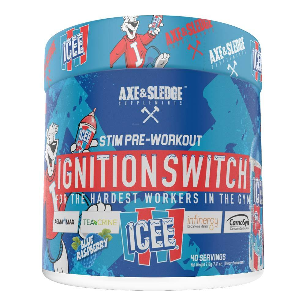 Axe & Sledge Ignition Switch 40 Servings | Stim Pre-Workout Sports Performance Recovery AXE & SLEDGE Icee Blue Raspberry