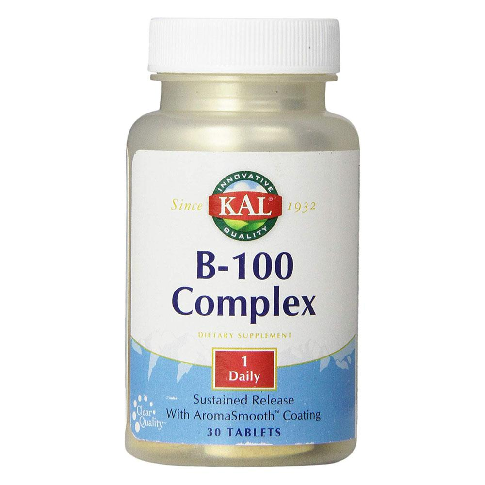 Kal B-100 Complex S/R 60 Tablets | Energy Production Vitamins & Minerals Kal  (1778931761195)