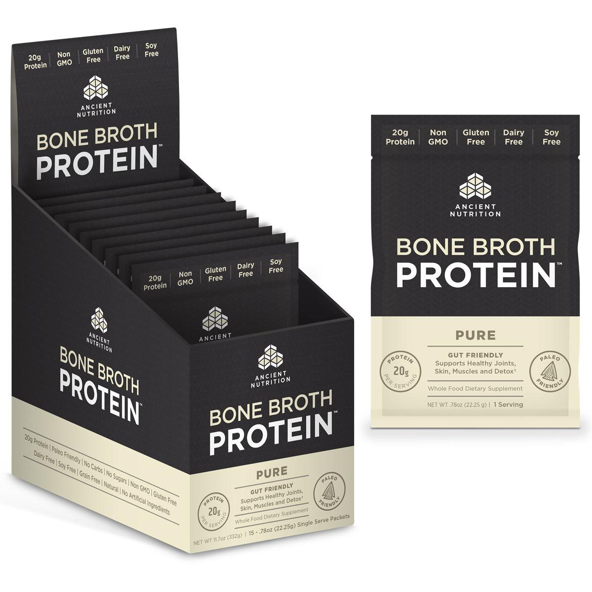 Ancient Nutrition Bone Broth Protein 15 Packets Protein Ancient Nutrition Pure  (1059256565803)