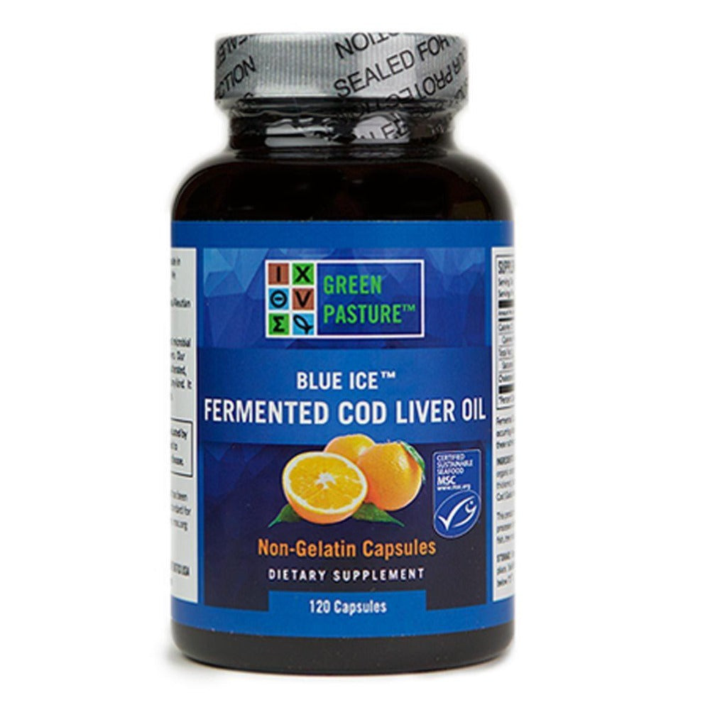 Green Pasture Blue Ice Fermented Cod Liver Oil Orange 120 Capsules Omega Fatty Acids / EFAs Green Pasture  (1058725724203)