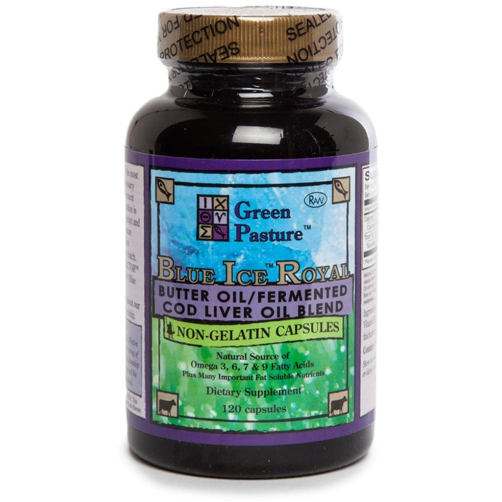 Green Pasture Blue Ice Royal Butter Oil/Fermented Cod Liver Oil Blend Non-Flavored 120 Caps Omega Fatty Acids / EFAs Green Pasture  (1058804498475)