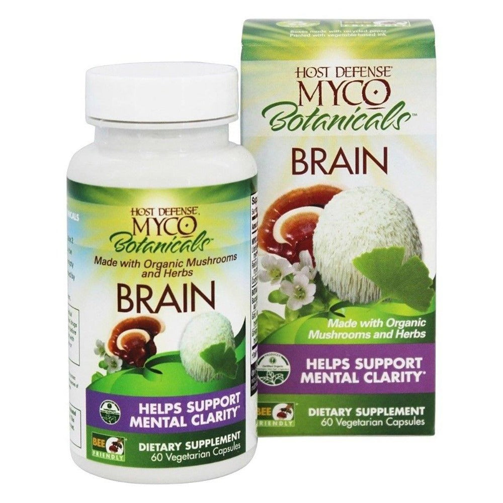 Fungi Perfect Host Defense MycoBotanicals Brain 60 Vege Caps Cognitive Fungi Perfect  (1059231236139)