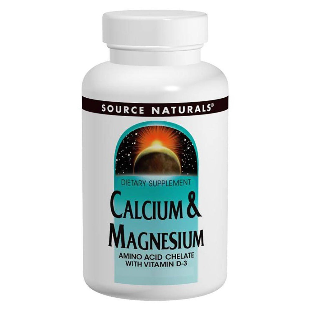 Source Naturals Calcium and Magnesium Chelate 300mg 250 Tablets Minerals Source Naturals  (1058073247787)