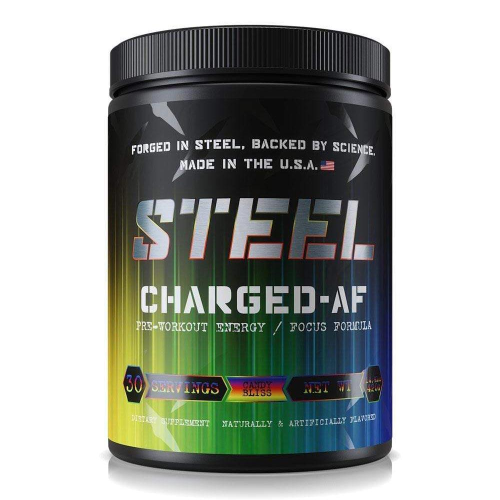 Steel Charged AF 30 Servings Sports Performance Recovery STEEL Candy Bliss  (1838612480043)