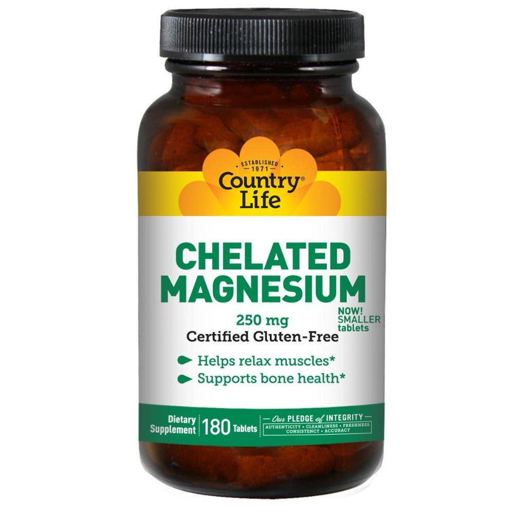 Country Life Chelated Magnesium 250 mg 180 Tabs Minerals Country Life  (1057872379947)