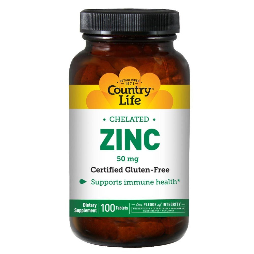 Country Life Zinc Chelated 50mg 100 Tabs Minerals Country Life  (1057966850091)