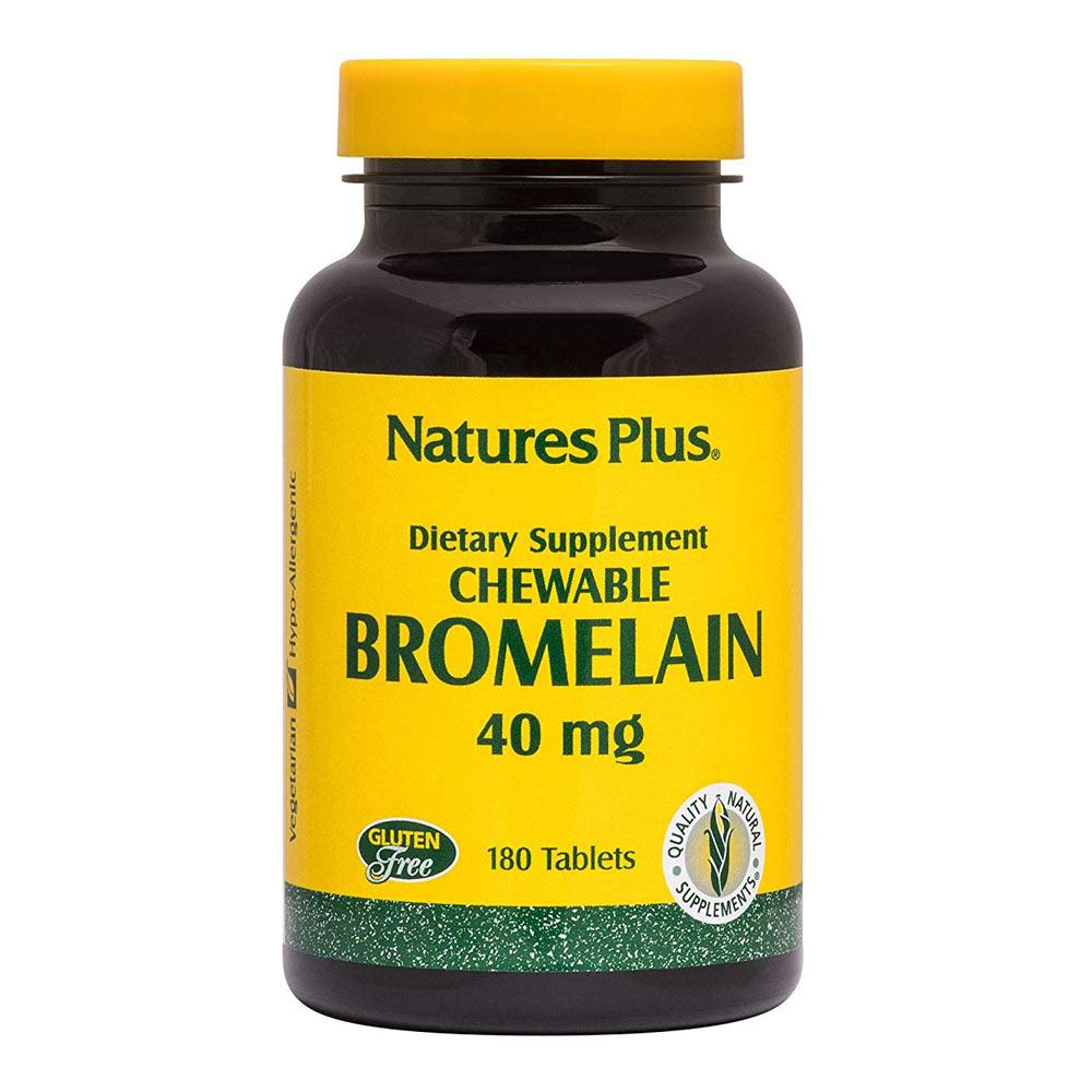 Nature's Plus Chewable Bromelain 40mg 180 Tablets Digestive Health Nature's Plus  (1797598150699)