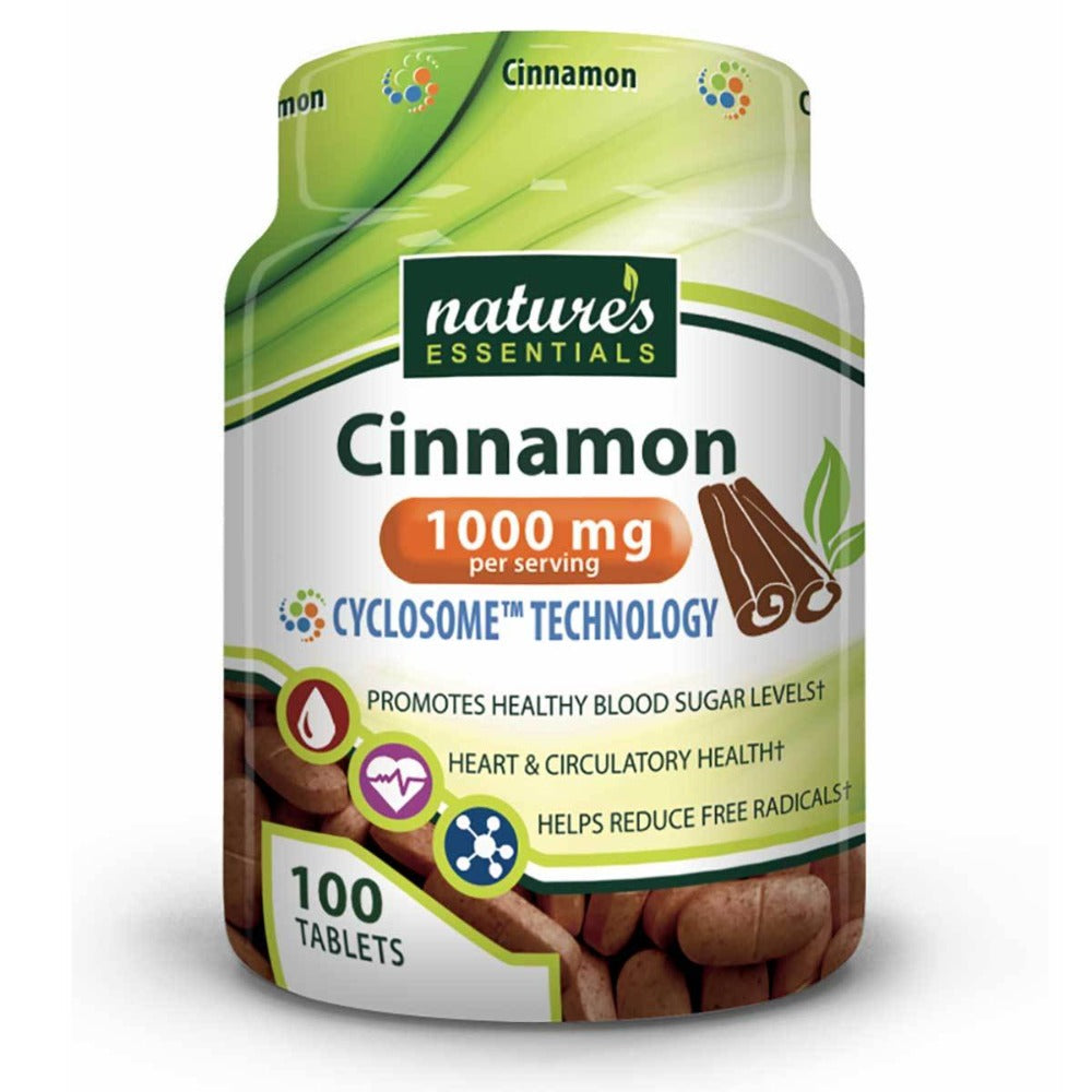 Nature's Essentials Cinnamon 1000mg 100 Tablets Personal Care Nature's Essentials  (1059294380075)