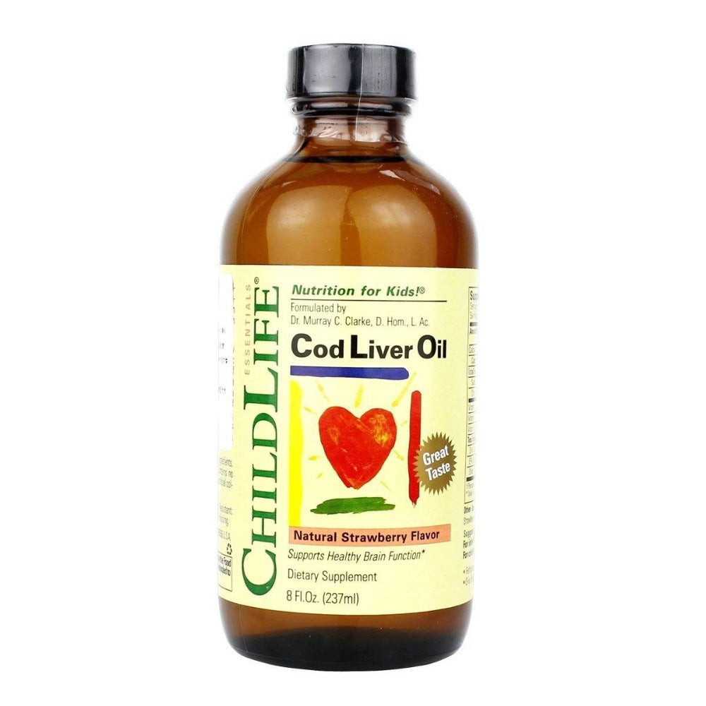 ChildLife Cod Liver Oil Strawberry 8 Fl Oz Omega Fatty Acids / EFAs ChildLife  (1059075883051)