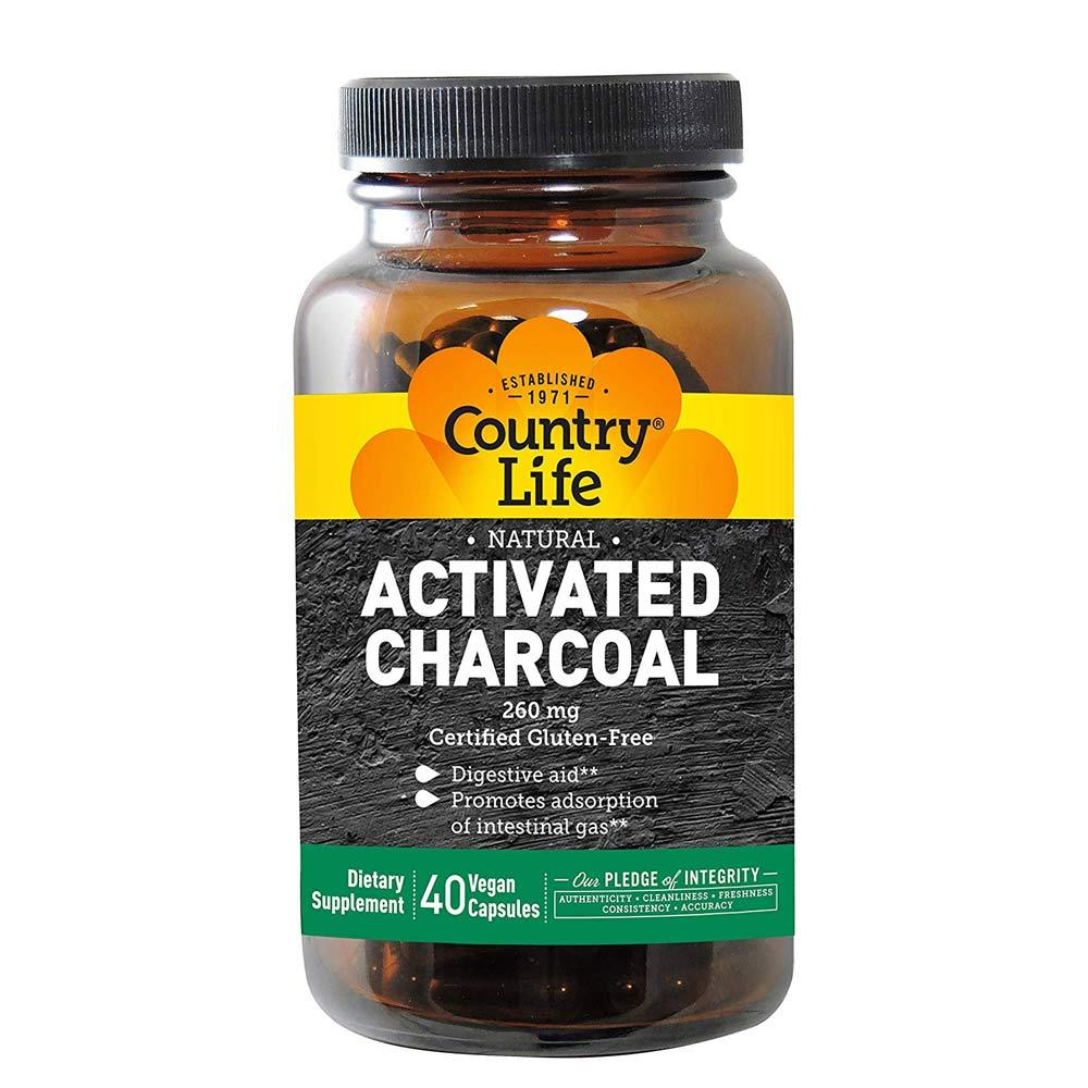 Country Life Activated Charcoal Coconut 260mg 40 Capsules Specialty Health Products Country Life  (4356301324353)
