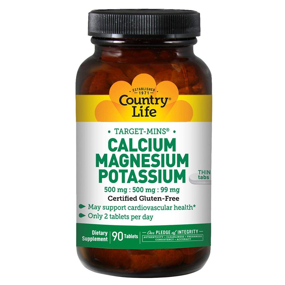 Country Life Calcium Magnesium Potassium 500mg 90T Vitamins & Minerals Country Life  (1766714933291)
