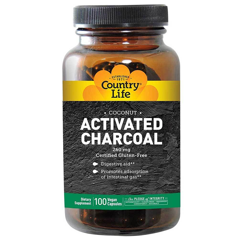 Country Life Activated Charcoal Coconut 260mg 100VC Digestive Health Country Life  (1766707888171)