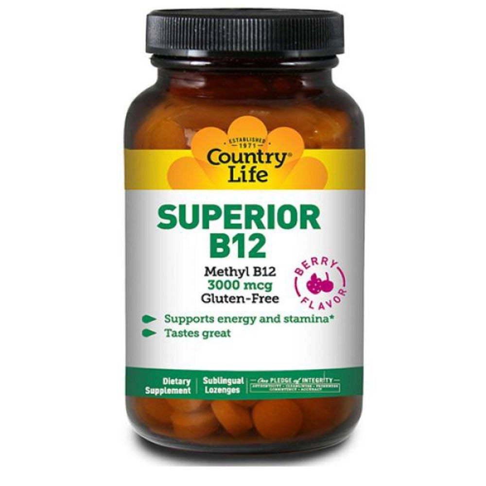 Country Life Superior Methyl B-12 3000mcg 50 Lozenges Vitamins Country Life  (1057949417515)