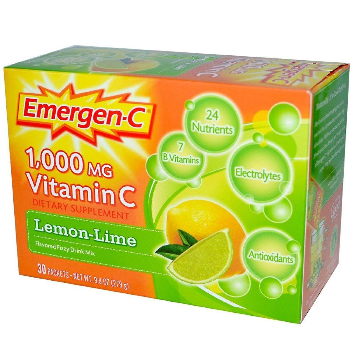 Alacer Emergen-C 30 Pack Vitamins Alacer Lemon Lime  (1057906720811)