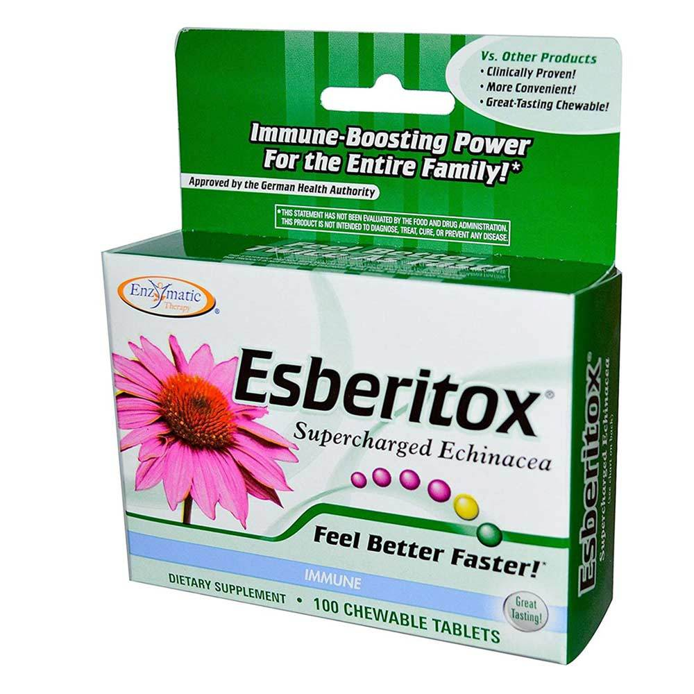 Esberitox Supercharged Echinacea 100 Chewable Tablets | Immune Support Specialty Health Products Enzymatic Therapy  (1769598812203)