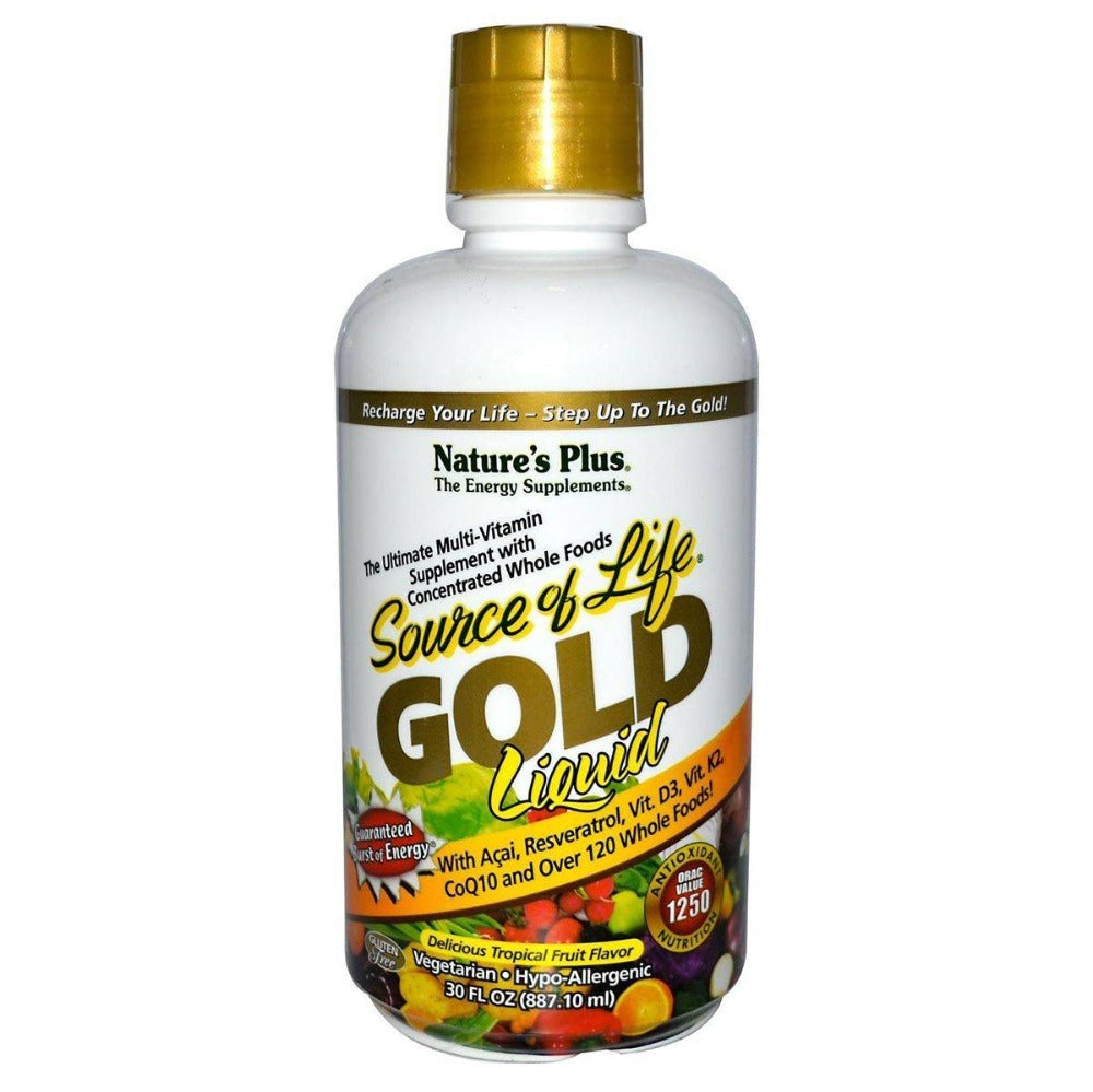 Nature's Plus Source of Life Gold Liquid Delicious Tropical Fruit Flavor 30 Fl Oz Vitamins Nature's Plus  (1058616705067)